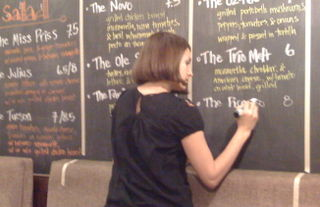 Julia writing on board