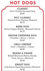 Dog menu