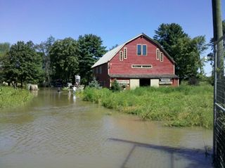 Barn in water