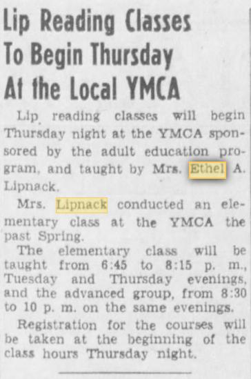 Lipreading classes 30Oct1945