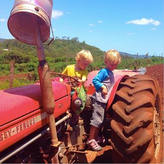 Boys on tractors in oz